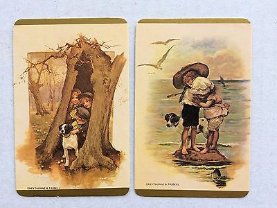 Vintage Swap / Playing Card Pair - Children with Dogs - Blank Backs