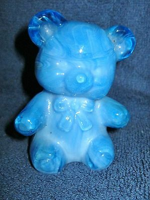 CAPRI BLUE BOYDS SLAG ART GLASS FUZZY the TEDDY BEAR