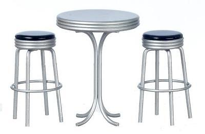 MINIATURE DOLLHOUSE 1:12 SCALE DINER 1950s RETRO TALL TABLE W/BLACK STOOLS T5915
