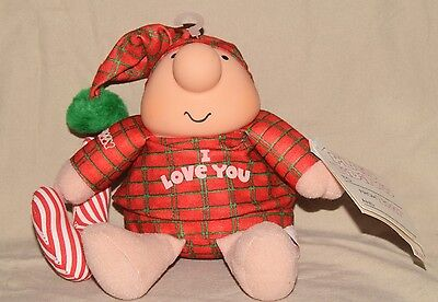 """Vintage ZIGGY Plush Christmas 1991 """"I LOVE YOU"""" with Candy Cane NEW OLD STOCK"""
