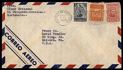 1946 Guatemala Cocales To Us Airmail Malvern Pa Cover