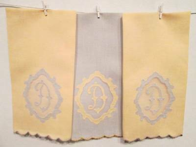 Antique Vintage Tea Towel LOT 3 Monogram D Linen Organdy Fingertip Yellow Blue