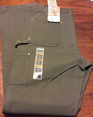 Carhartt Firm Duck Double Front Work Dungaree Pants 34 X 36 Moss Green Loose New