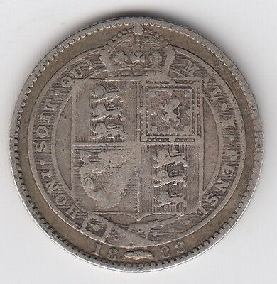 1888 Great Britain One 1 Shilling Victoria Sterling Silver World Coin