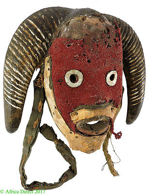 Dan Deangle Mask Red Face Liberia African Art Gelb Collection