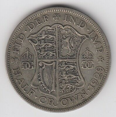1929 Great Britain Half 1/2 Crown George V Silver World Coin