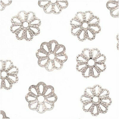 Bright Silver Plated Delicate Flower Bead Caps 6mm X50