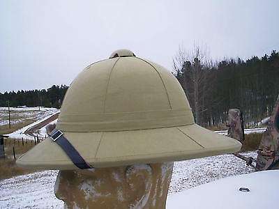 British Style Cork Sun Helmet 1918 With Chin Strap Adjustable Size Vent On Top.