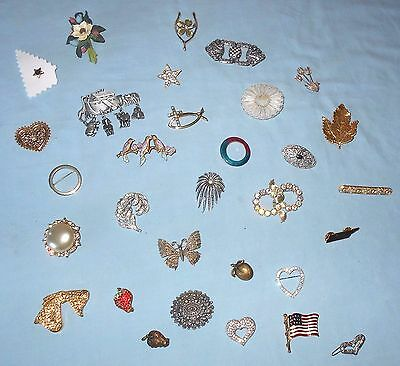 31 VTG PINS BROOCHES Noah's Ark BIRDS Butterfly LEAF Strawberry JJ Hearts GERRYS
