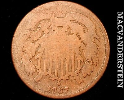 1867 Two Cent Shield - Scarce !! Better Date !! #m3305