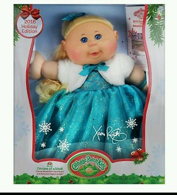 New Cabbage Patch Kids 2016 Holiday Edition Exclusive Blonde Hair Blue Dress Nib
