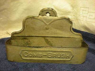 VINTAGE tin COMB & BRUSH wall mount container