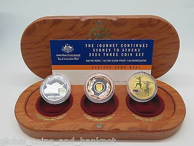 Australian 2004 Olympic Team, Sydney To Athens $50,$5,$5 - 3 Coin Proof, UNC Set