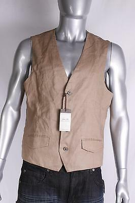 $55 Tasso Elba Men`s Linen Dress Vest L Large Brown NEW