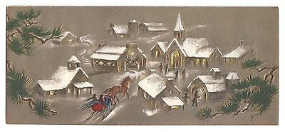 Vintage Greeting Card Christmas Horse Drawn Sleigh Village Houses Mid-Century