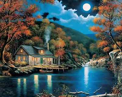 "16x20""DIY Paint By Number Kit Acrylic Oil Painting On Canvas--NIGHT SCENERY 1163"