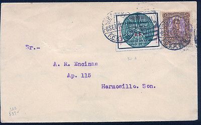 Mexico  343, 372, Combination Of Two Issues On Cover With Rr Cancel. (16)