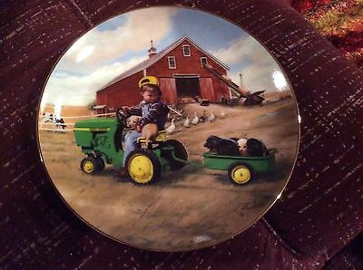 """Tractor Ride collector plate, 8"""", Danbury Mint, Little Farmhands, boy on tractor"""