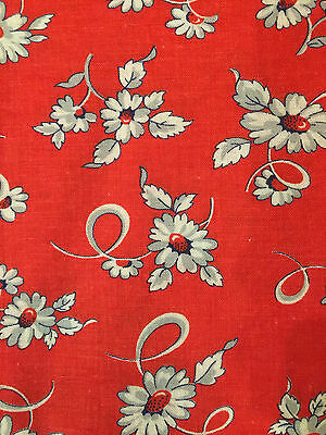 Vintage Feed Sack Fabric Red with Gray Flowers - Open Feedsack