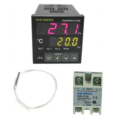 Inkbird 12-24V Digital PID Temperature Controller Thermostat 25A SSR PT100 probe
