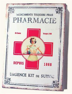 Pharmacie First Aid Tin Zinc  Medicine Box Vintage Reproduction French