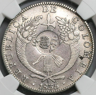 1837 NGC XF PHILIPPINES Counterstamp COLOMBIA Silver 8 Reales 1835 (16112207C)