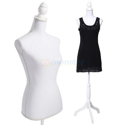 Female Mannequin Torso Clothing Display W/ White Tripod Stand Fiberglass