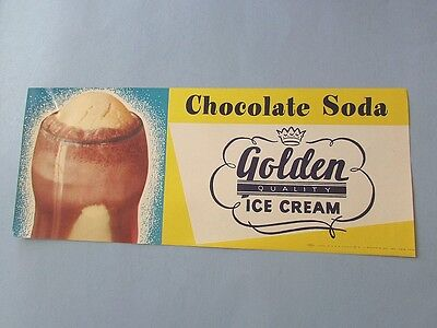 Advertising SIGN Golden ICE CREAM Paper Soda Fountain Chocolate Soda Vintage
