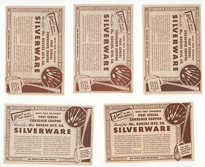 5 Vintage 1940 Post CEREAL Wm Rogers Silverware Advertising Coupon Lady Post