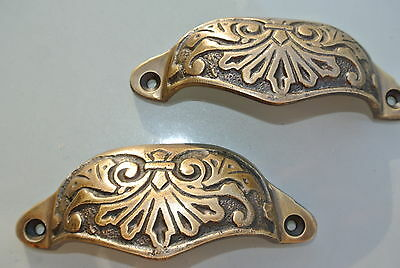 "2 heavy shell shape pulls handle solid brass vintage old style 4"" engraved"