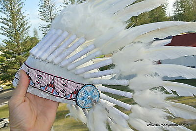 nice WAR BONNET head chief feathers leather bead native american indian white