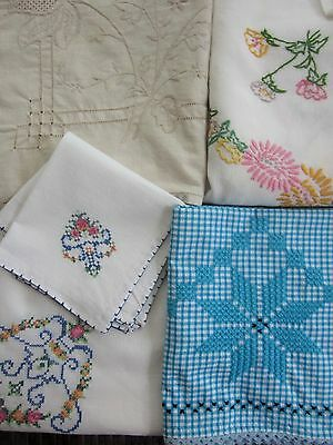 4 vintage LINENS embroidered TABLE CLOTHS imperfect - craft or use