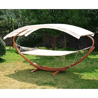 "78.7"" 2 Person Wood Swing Arc Hammock Bed and Stand Set with Canopy White/Teak"