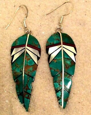 Native American Sterling Silver Feather Shapd Earrings Inlaid W/ Green Turquoise