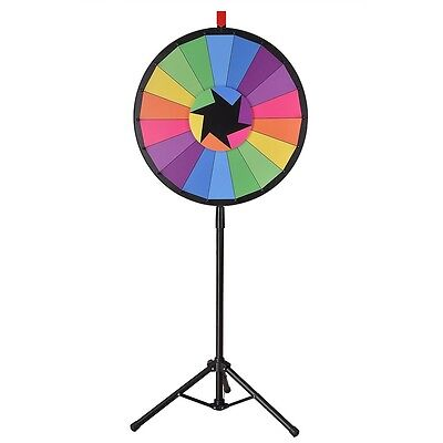 """WinSpin™ 24"""" Color Prize Wheel 18 Slot Floor Stand Tripod Spin Game Tradeshow"""