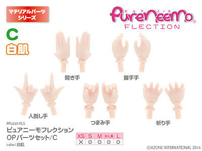 Azone Pure Neemo S-L OP Parts Set C White Skin Hand Parts for Azone S-L Body