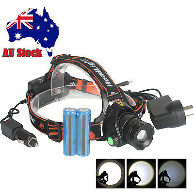 AU 6000LM CREE XML T6 LED Headlamp Zoomable Headlight 18650 Head Torch + Battery