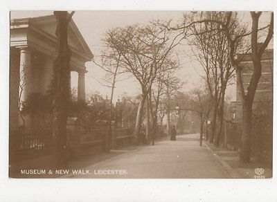 Museum & New Walk Leicester 1913 RP Postcard 204a