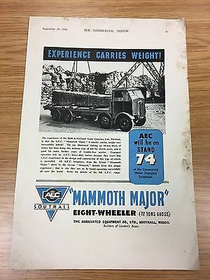 RARE 1948 AEC 'Mammoth Major' Vintage A4 Colour Truck Advert L1