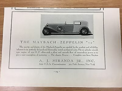 RARE 1929 MAYBACH Zeppelin 12 Vintage Small B&W Car Advert