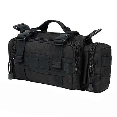 Military Tactical Waist Pack Shoulder Bag Molle Camping Hiking Pouch Black