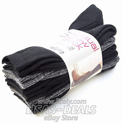 New! Womens 6 Pair Legale Casual Crew Socks Super Soft Black Gray 9-11