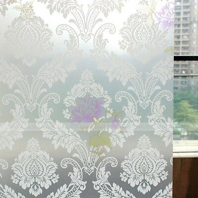 Damask Floral Self Adhesive Window Film PVC Waterproof Glass Protector Sticker