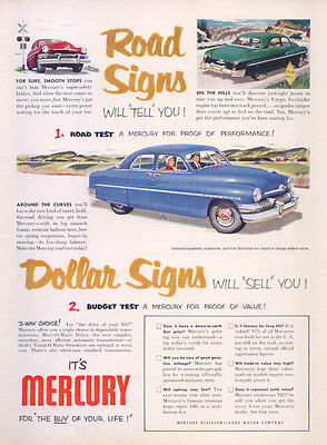 Mercury Road Signs Tell Dollar Signs Sell ad 1951