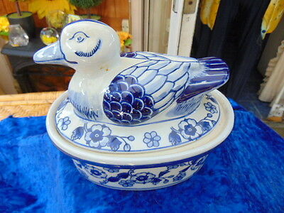 Lovely Blue & White Duck Lidded Dish Nice Storage  Small Mark Under