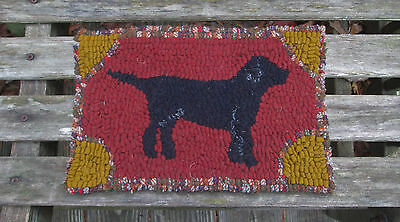 """BLACK DOG""  Beginner Primitive Rug Hooking Kit with cut wool strips"