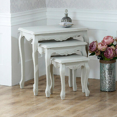Grey Wooden Painted Nest of Tables Side Set of 3 Three Coffee Tables Furniture