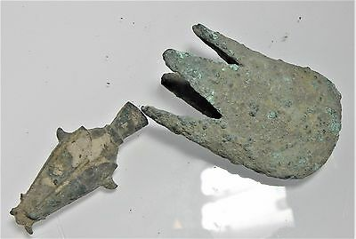 Zurqieh -  Ancient Egypt, Lot Of 2 Bronze Items. 600 B.c - 200 A.d