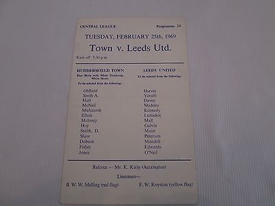 1968-69  CENTRAL LEAGUE RESERVES HUDDERSFIELD TOWN v LEEDS UNITED