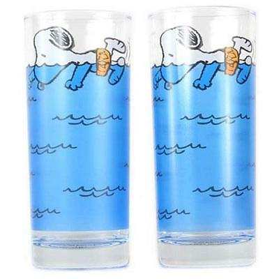 Peanuts - Swimming Snoopy Glass Tumbler Set Of 2 - New & Official In Pack